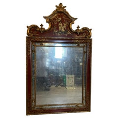 Hand Painted Chinoiserie and Giltwood Mirror by Drexel