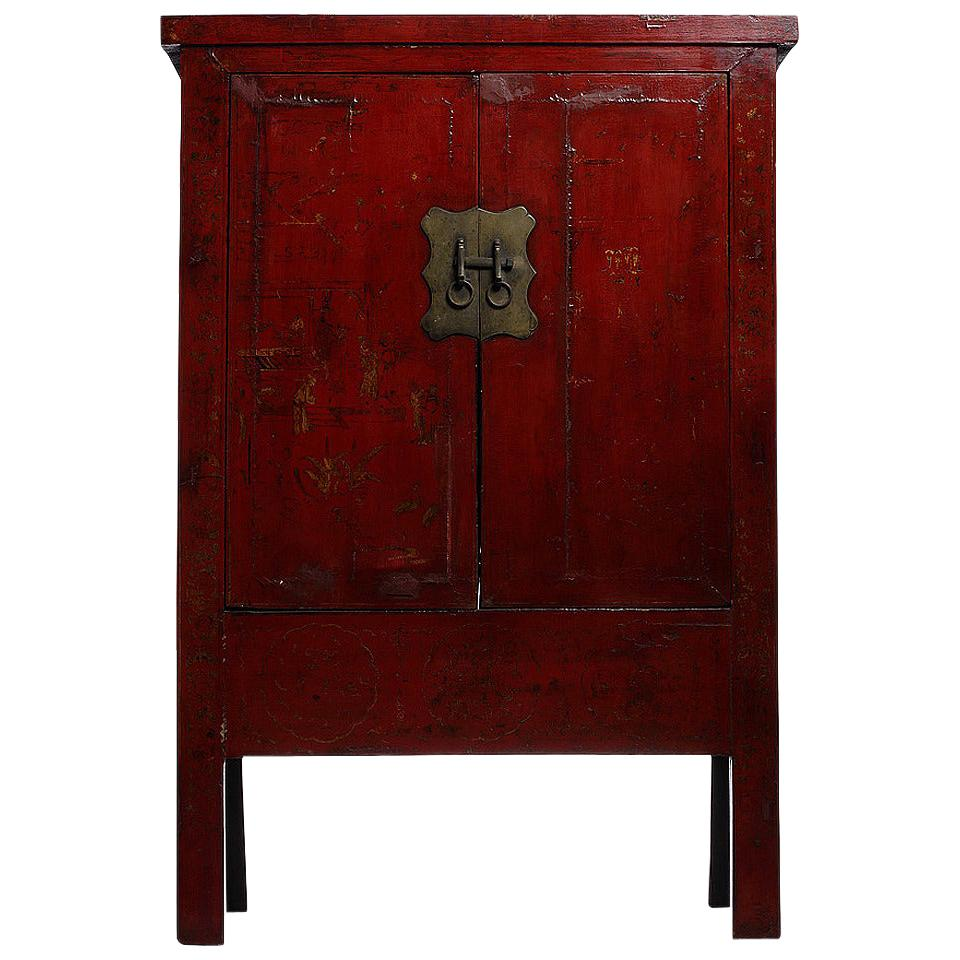 Hand Painted Chinoiserie and Red Lacquer Armoire from China, 19th Century