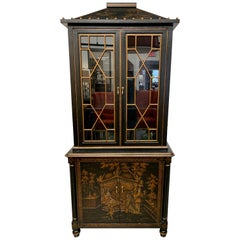 Hand Painted Chinoiserie Chinese Export Cabinet