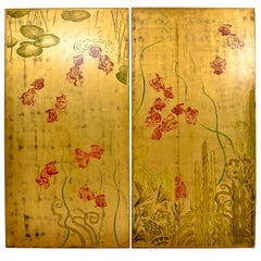 Hand Painted Chinoiserie on Parcel Gilded Panels