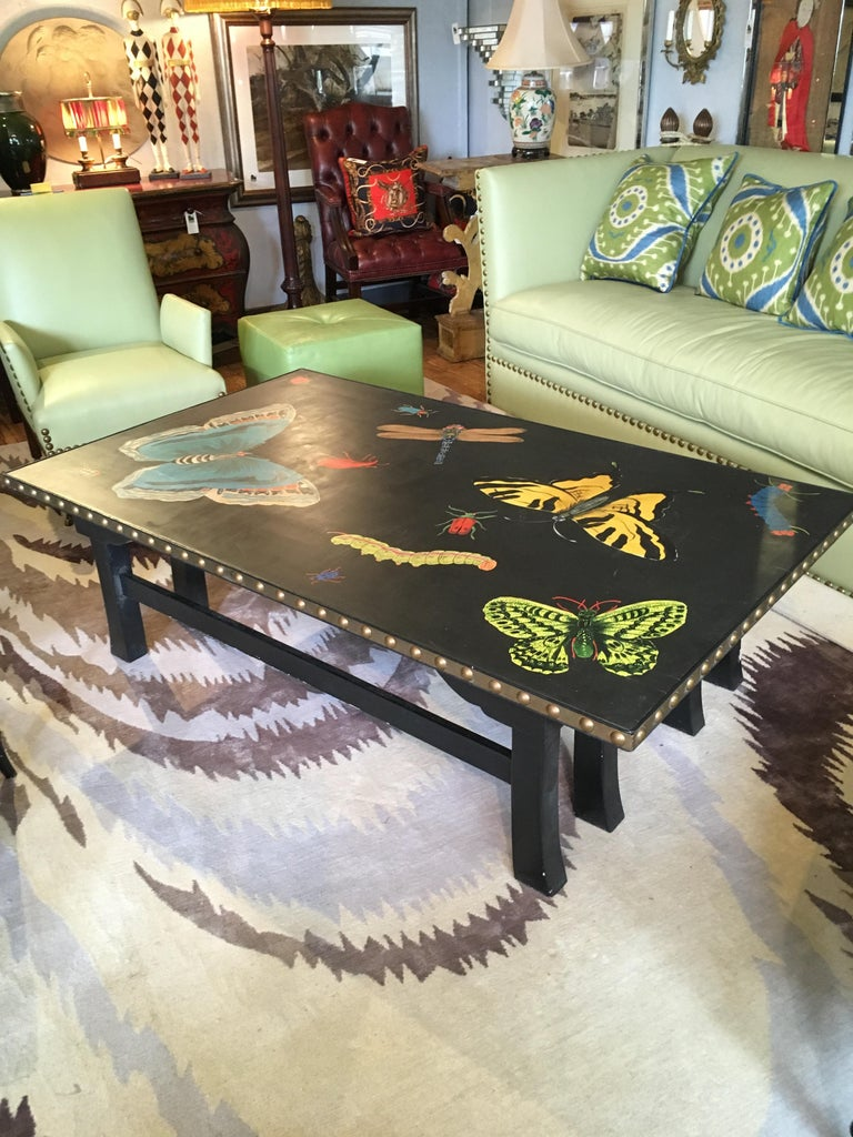 A sensational hand painted rectangular coffee table having boldly rendered bright butterflies, dragonflies and lady bugs against a black background and finished with big brass nailheads.