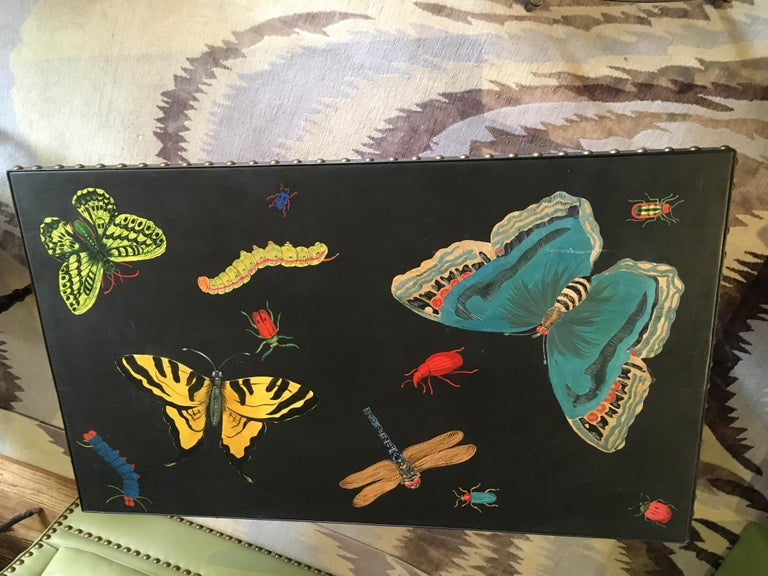 Hand Painted Contemporary Rectangular Coffee Table with Insects and Butterflies In Excellent Condition For Sale In Hopewell, NJ