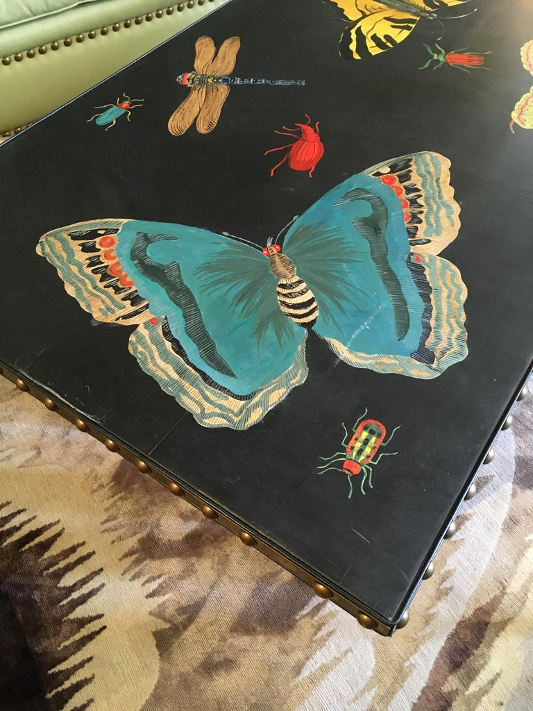 Late 20th Century Hand Painted Contemporary Rectangular Coffee Table with Insects and Butterflies For Sale