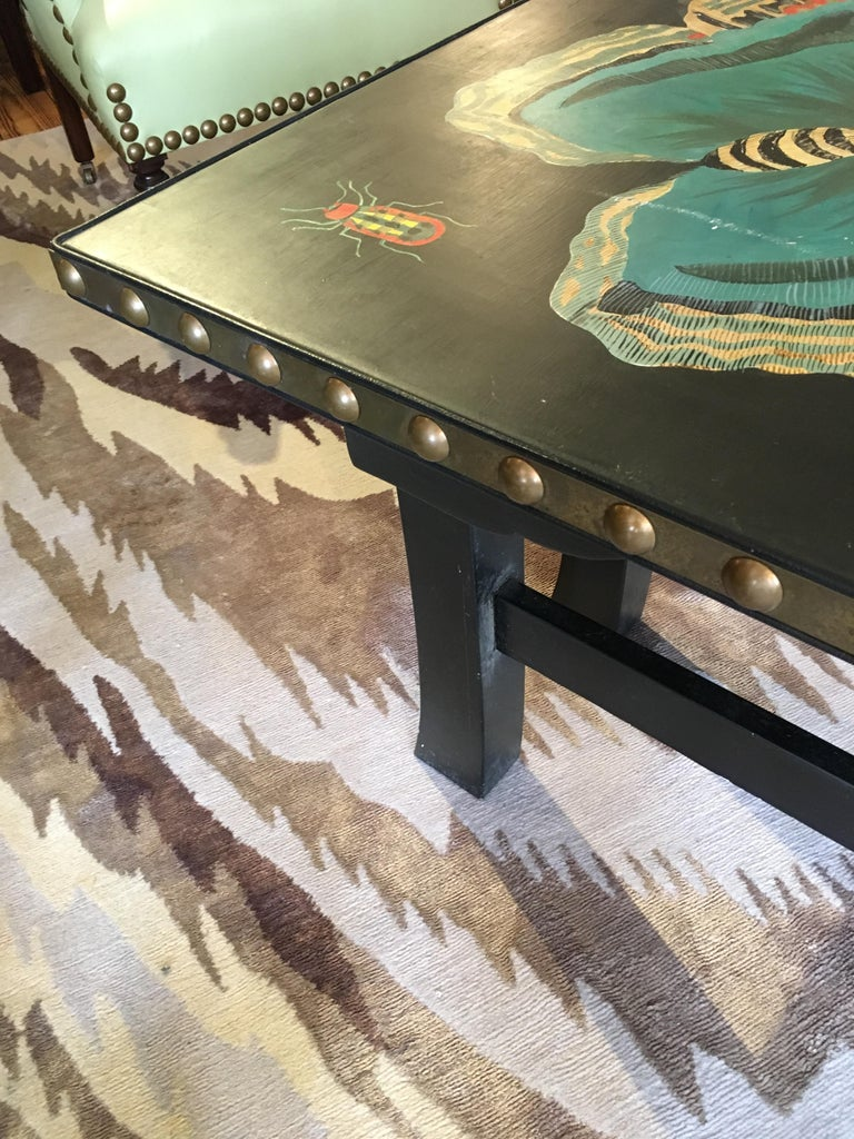Wood Hand Painted Contemporary Rectangular Coffee Table with Insects and Butterflies For Sale