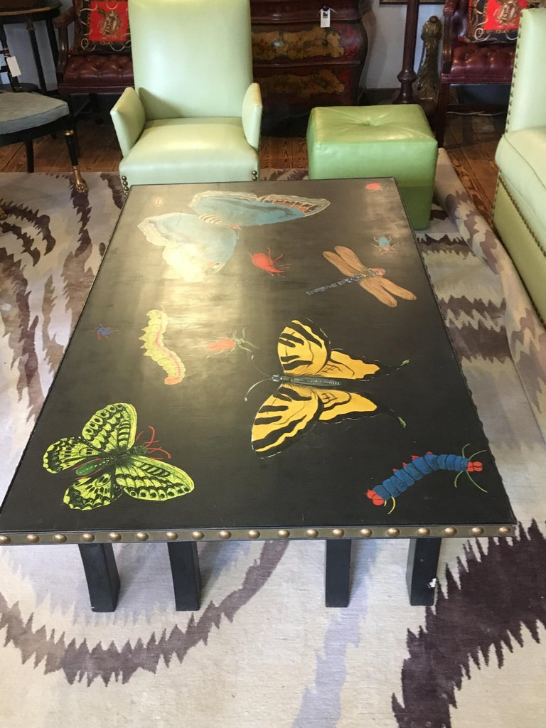 Hand Painted Contemporary Rectangular Coffee Table with Insects and Butterflies For Sale 1