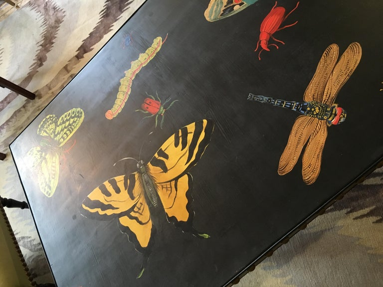 Hand Painted Contemporary Rectangular Coffee Table with Insects and Butterflies For Sale 2