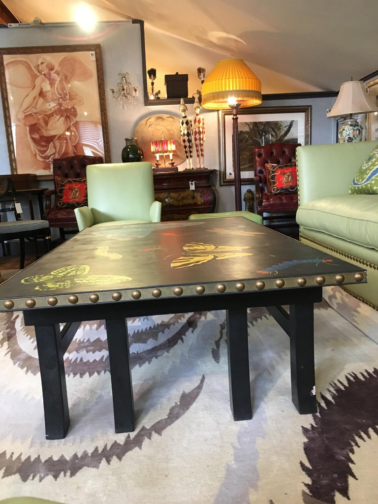 Hand Painted Contemporary Rectangular Coffee Table with Insects and Butterflies For Sale 3