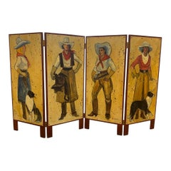 Hand Painted Cowgirl Western Room Divider Screen Four-Panel Adirondack Cabin
