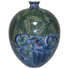 Large Japanese Hand-Painted Imari Porcelain Vase by Master Artist, circa 2005