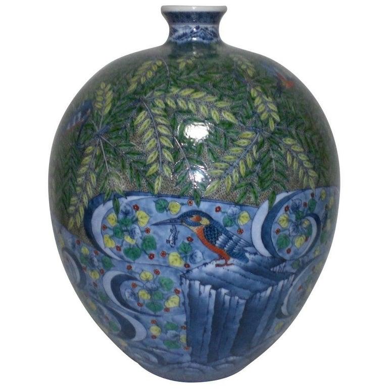 Hand-Painted Decorative Imari Porcelain Vase by Japanese Porcelain Artist