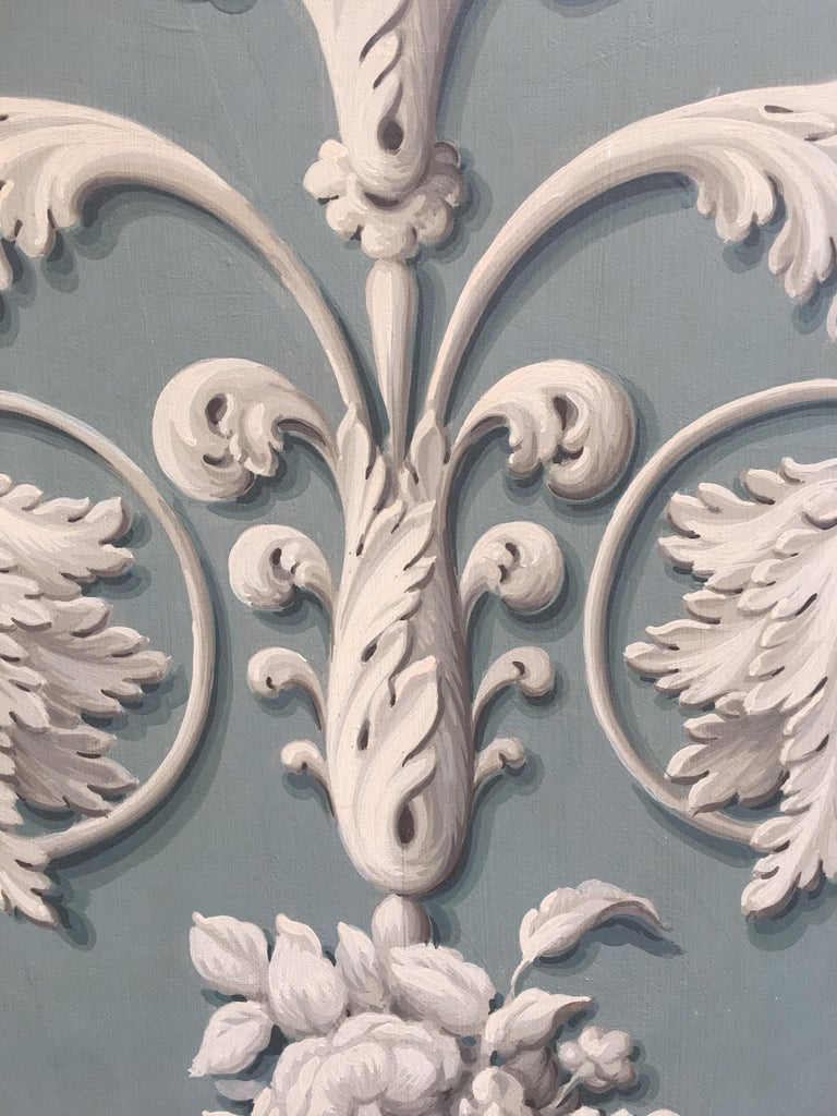 Neoclassical Hand Painted Decorative Panel from the 19th Century For Sale