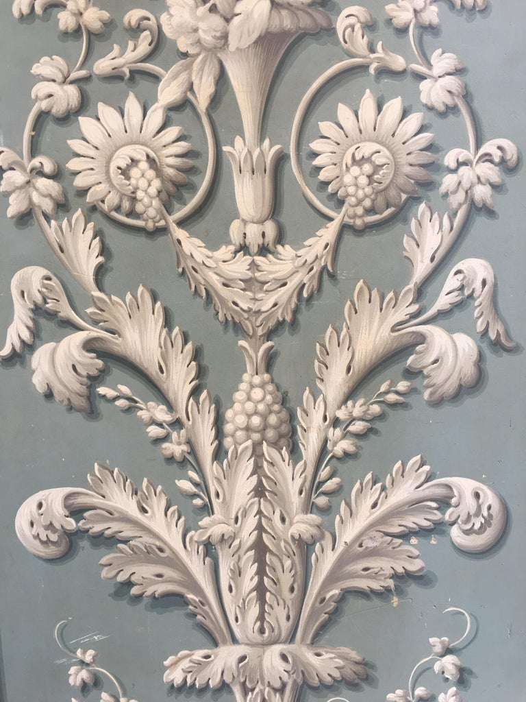 Hand Painted Decorative Panel from the 19th Century In Good Condition For Sale In Naples, IT