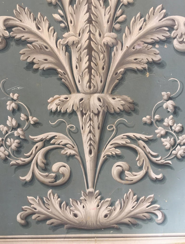 Wood Hand Painted Decorative Panel from the 19th Century For Sale