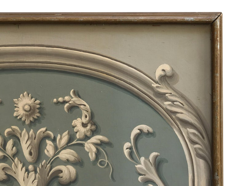Hand Painted Decorative Panel from the 19th Century For Sale 1