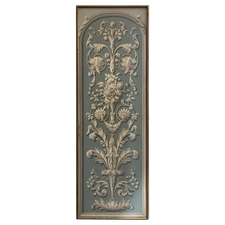 Hand Painted Decorative Panel from the 19th Century For Sale