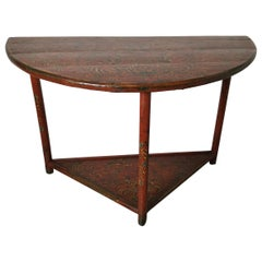 Hand Painted Demilune Table, circa 1870