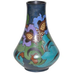 Hand Painted Dutch Style Art Nouveau Vase Pot in Blue and Turquoise