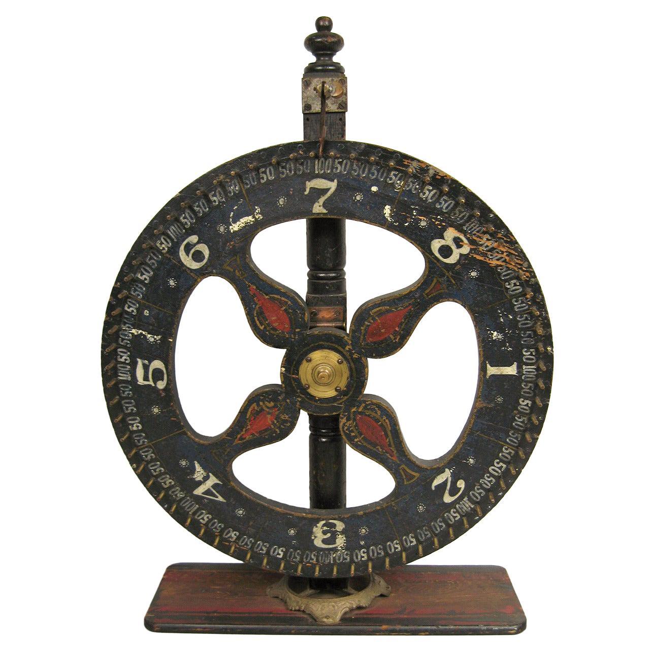 Hand Painted Early Americana Folk Art Game Wheel