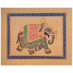 Hand Painted Elephant in Gold Regalia on Paper, India