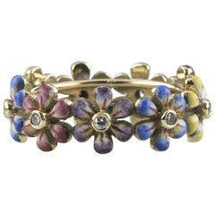Hand Painted Enamel and Diamond Flower Ring by SJS in Yellow Gold