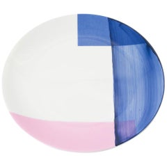 Hand Painted Enamel Colour Salad Plate with Silk Screen Decal