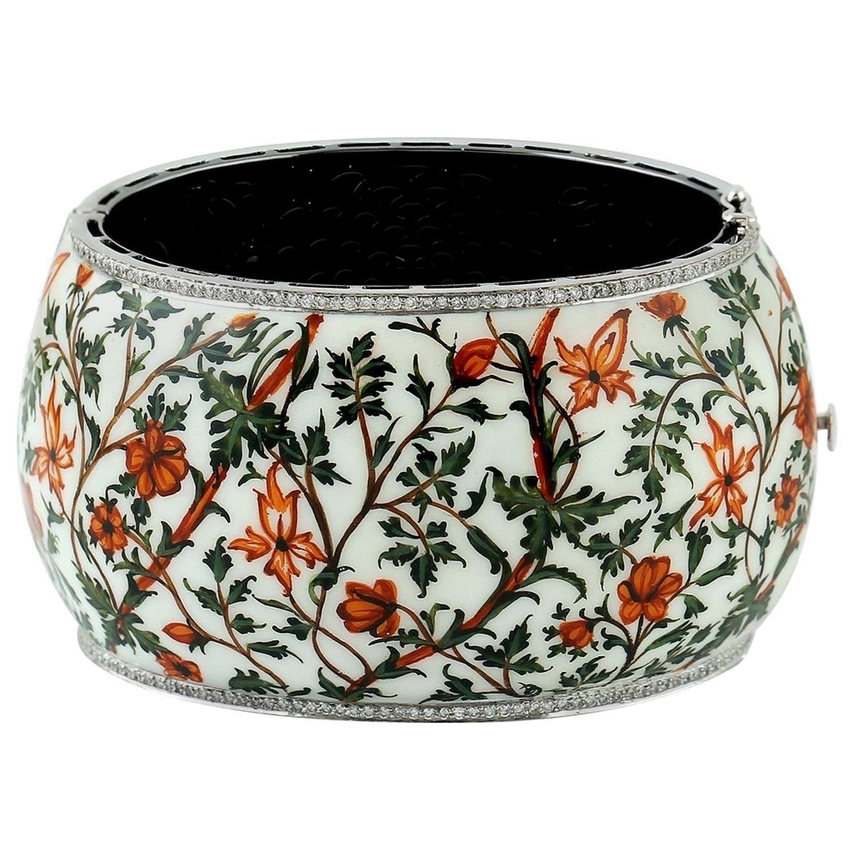 Hand Painted Enamel Diamond Autumn Cuff Bracelet