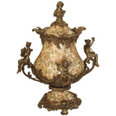 Hand-Painted Faience and Gilt Bronze Mounted Urn