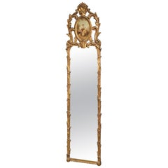 Hand Painted Figural Carved Gilded Narrow French Louis XV Mirror, circa 1920