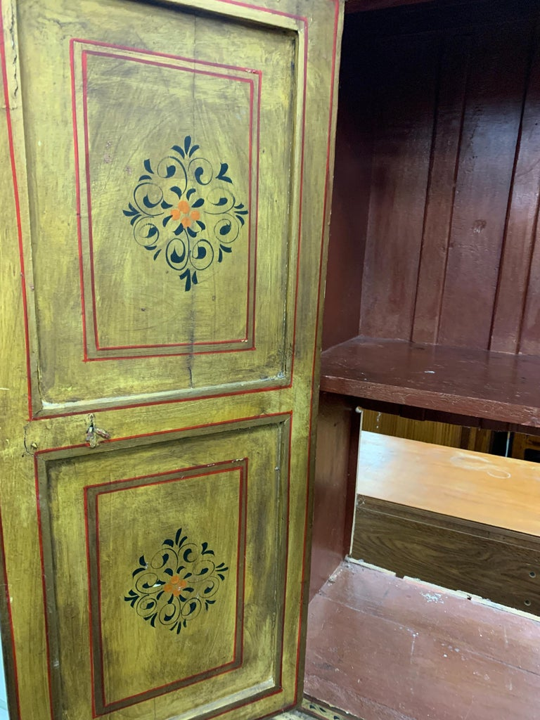 Hand Painted Figurative Cupboard Small Armoire Cabinet Almirah, India For Sale 7