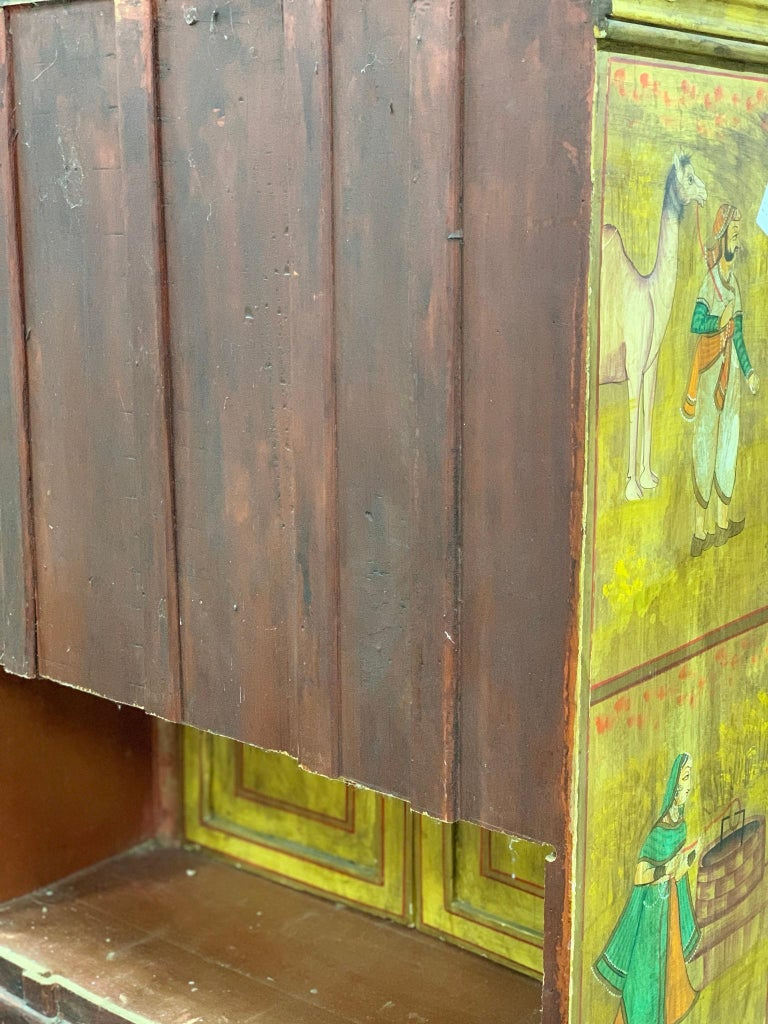 Hand Painted Figurative Cupboard Small Armoire Cabinet Almirah, India For Sale 9
