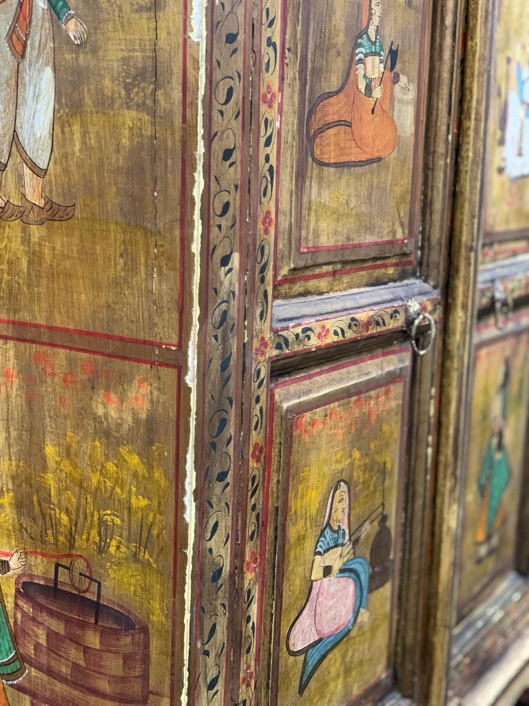 Hand Painted Figurative Cupboard Small Armoire Cabinet Almirah, India For Sale 2
