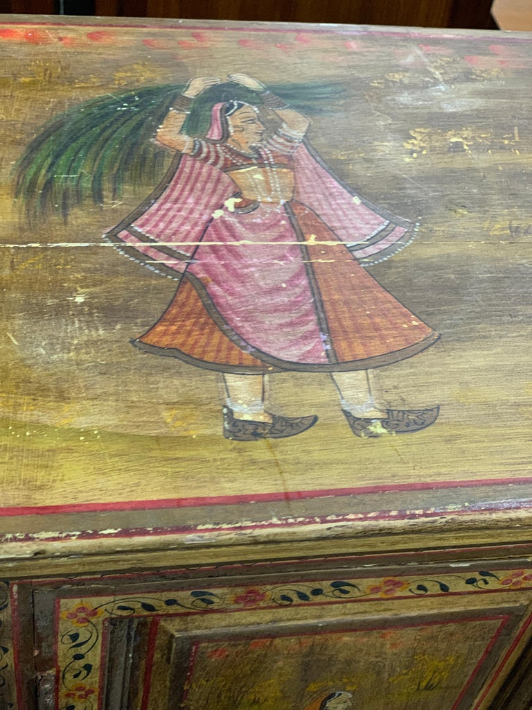 Hand Painted Figurative Cupboard Small Armoire Cabinet Almirah, India For Sale 5