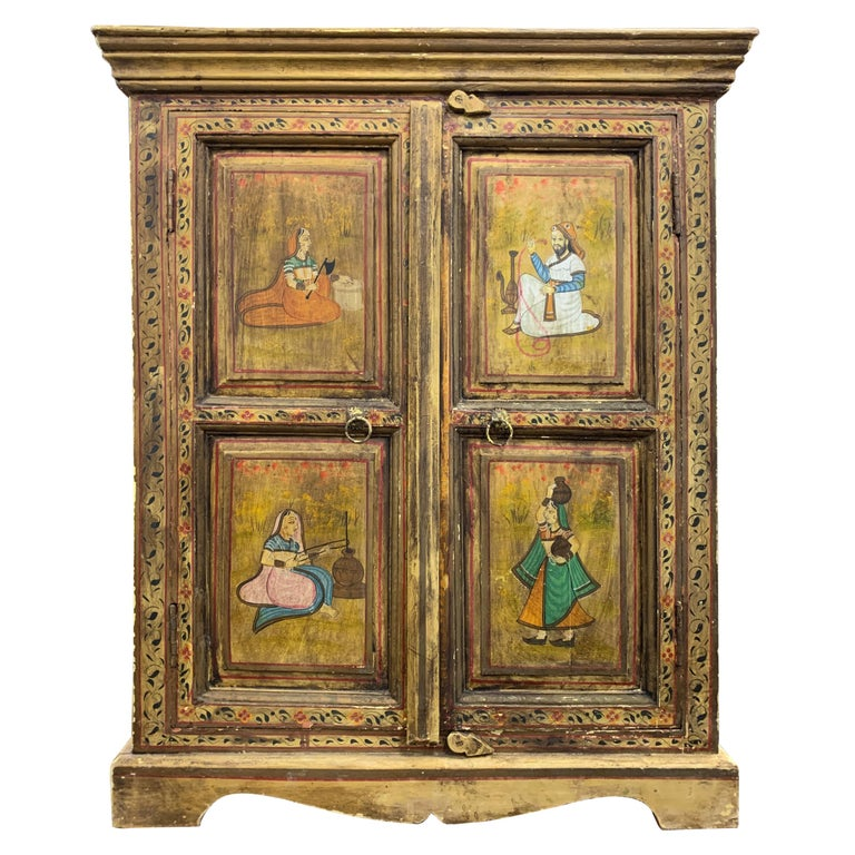 Hand Painted Figurative Cupboard Small Armoire Cabinet Almirah, India For Sale
