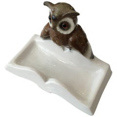 Hand Painted Figurine Porcelain Owl on Book Ring Tray, Germany