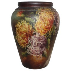 Hand Painted Floral Pottery Bauer Vase