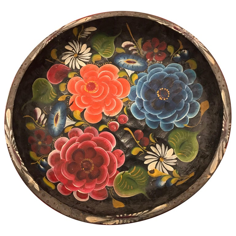 Hand Painted Flower Mexican Bowl Large For Sale