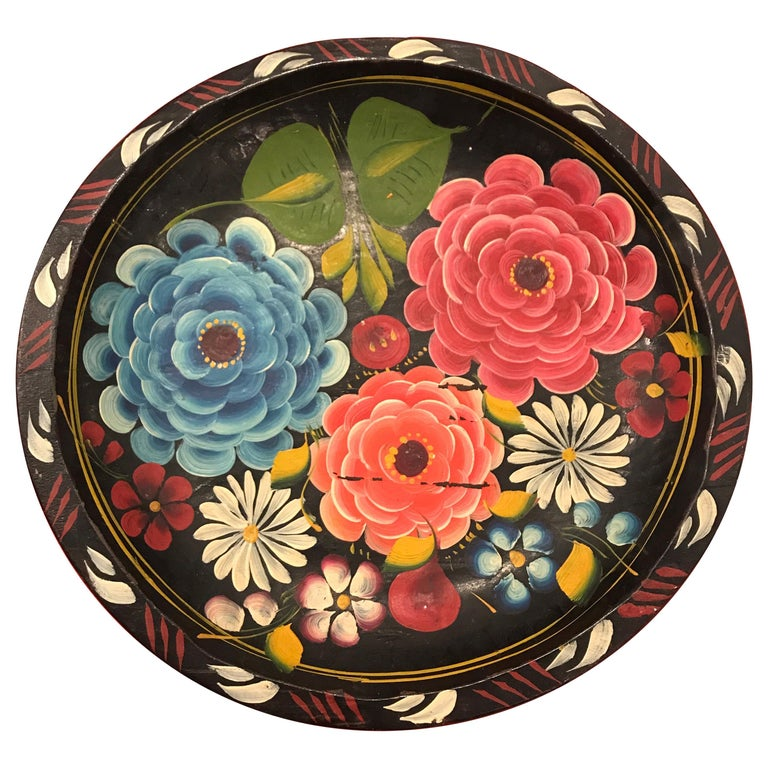 Hand Painted Flower Mexican Bowl Medium For Sale