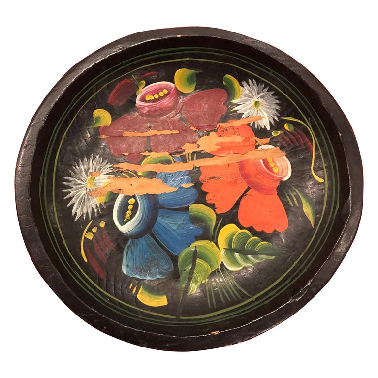 Hand Painted Flower Mexican Bowl Small For Sale