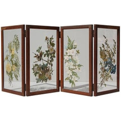 Hand-Painted Folding Glass Table Screen or Divider, 1940s Belgium
