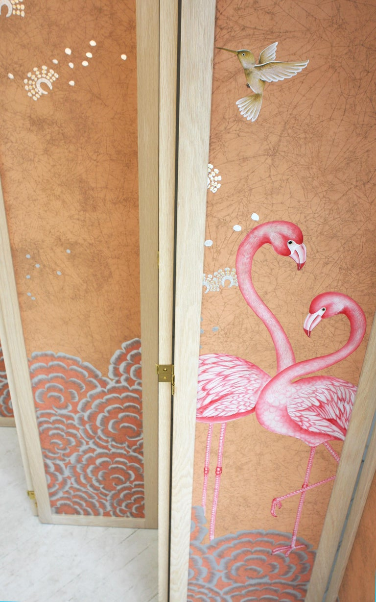 American Hand Painted Folding Panel Screen For Sale