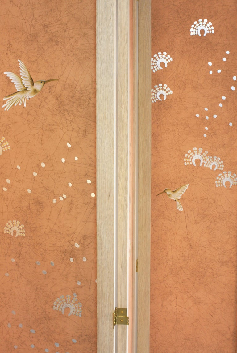 Hand Painted Folding Panel Screen In New Condition For Sale In New York, NY