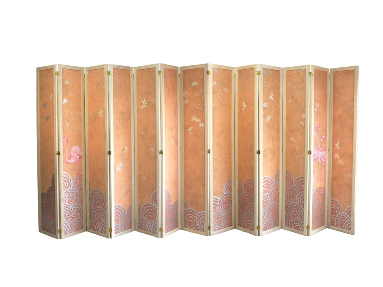 Contemporary Hand Painted Folding Panel Screen For Sale