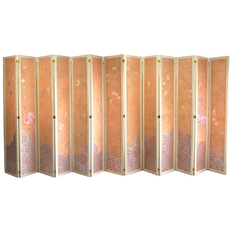Hand Painted Folding Panel Screen For Sale