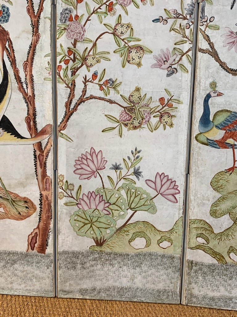 Hand Painted Four Panel Folding Screen in the Style of Gracie or de Gournay For Sale 3