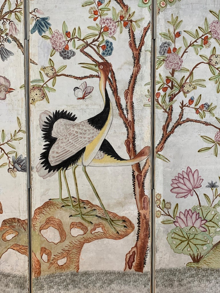 Hand Painted Four Panel Folding Screen in the Style of Gracie or de Gournay For Sale 4