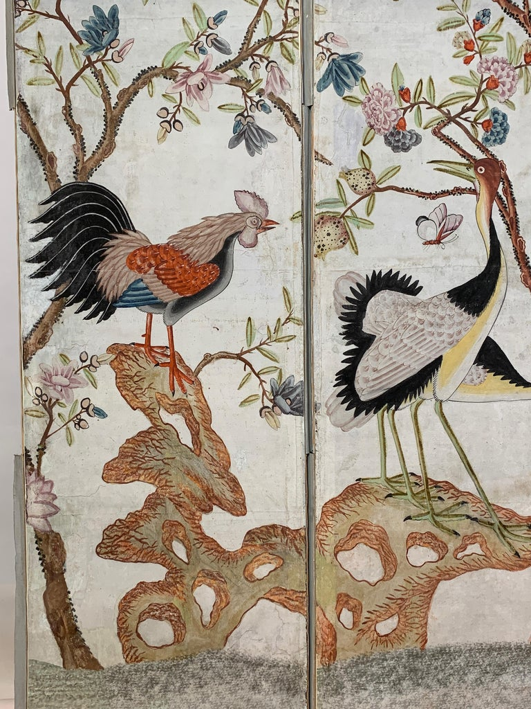 Hand Painted Four Panel Folding Screen in the Style of Gracie or de Gournay For Sale 5