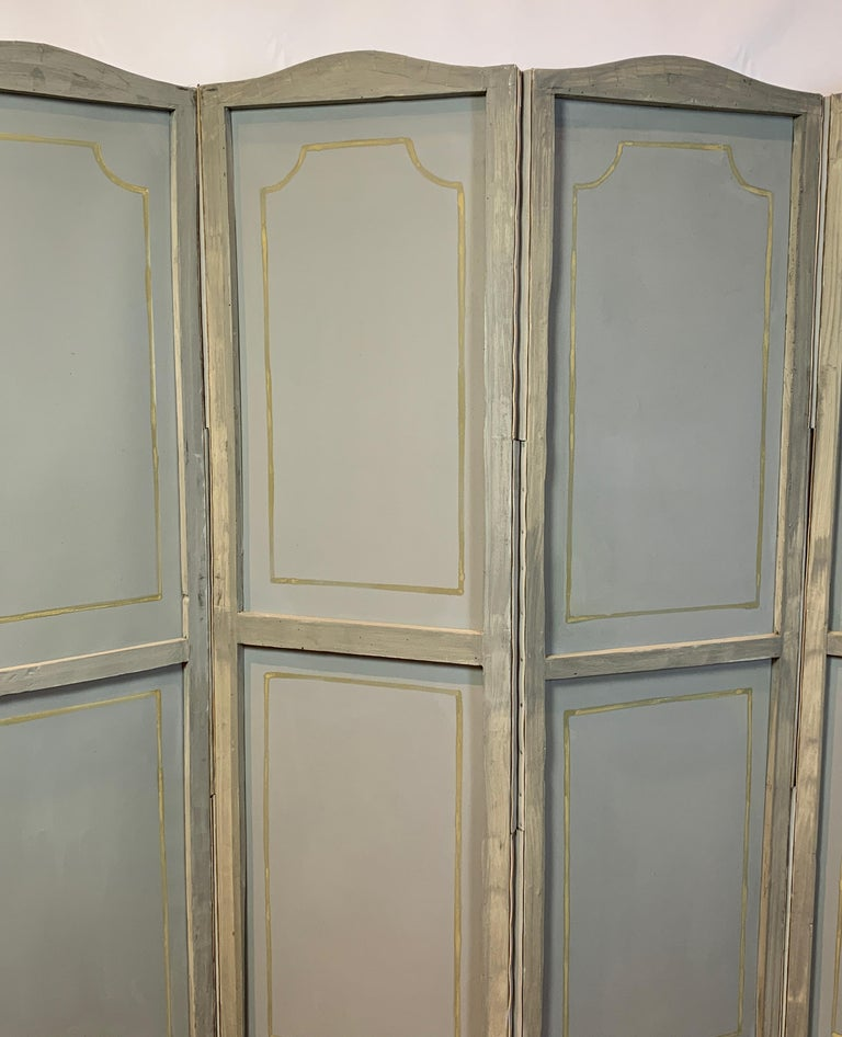 Hand Painted Four Panel Folding Screen in the Style of Gracie or de Gournay For Sale 7