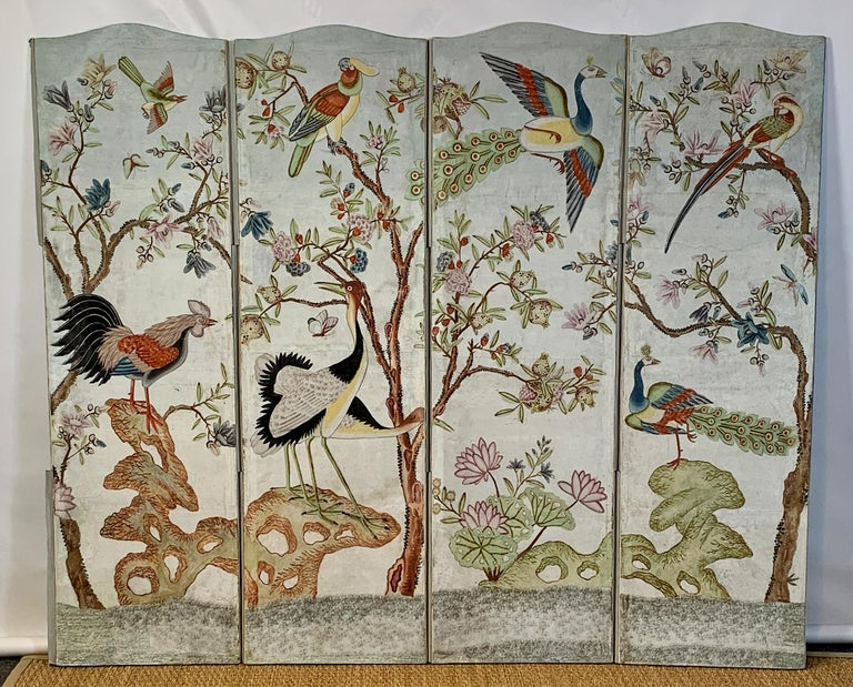 Unknown Hand Painted Four Panel Folding Screen in the Style of Gracie or de Gournay For Sale