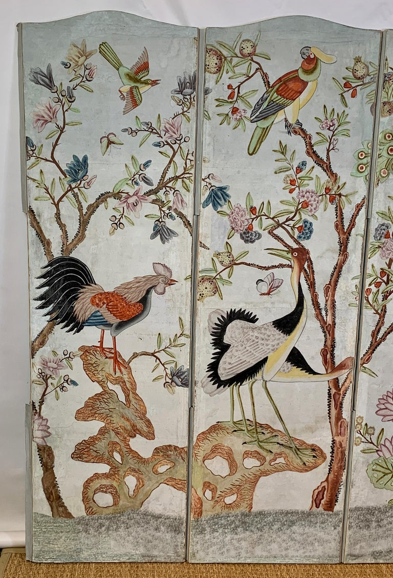Hand-Painted Hand Painted Four Panel Folding Screen in the Style of Gracie or de Gournay For Sale