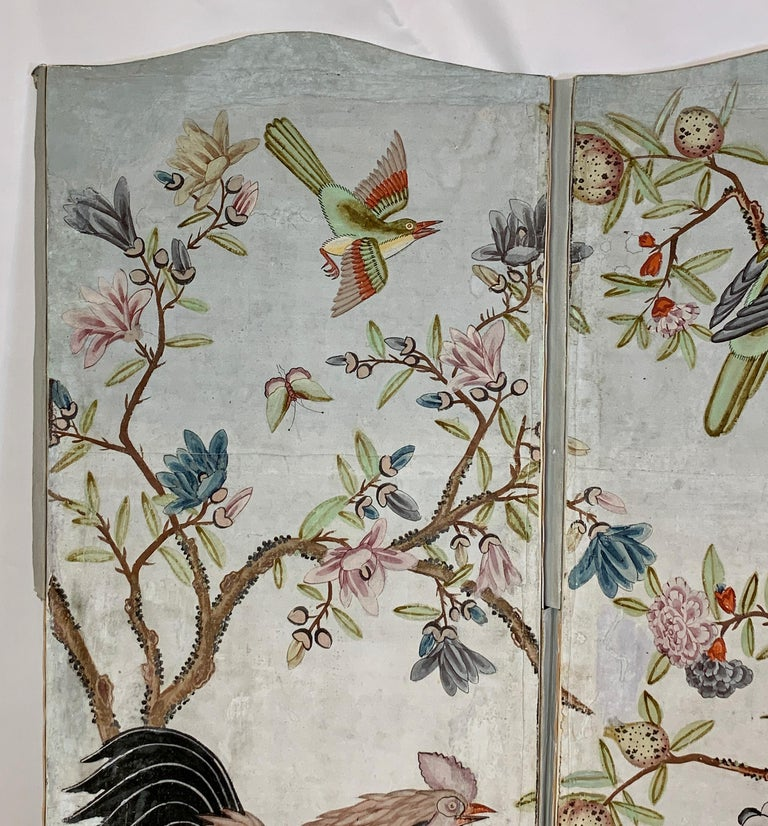 Hand Painted Four Panel Folding Screen in the Style of Gracie or de Gournay In Good Condition For Sale In Kilmarnock, VA